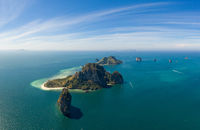 Aerial view of beautiful Poda Island in Thailand