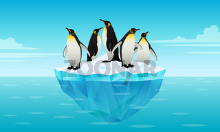 Flock of emperor penguins on ice floe in cold water