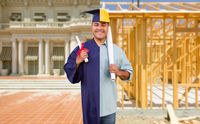 Split Screen Male Hispanic Graduate In Cap and Gown to Engineer in Hard Hat Concept