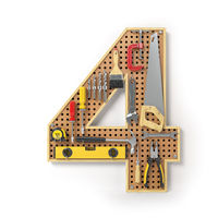 Number 4 four. Alphabet from the tools on the metal pegboard isolated on white.