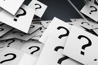 Many question marks on WHITE papers