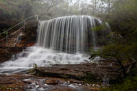 Scenic views of the Misty Weeping Rock at Wentworth Falls