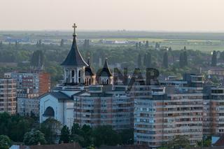 Oradea - Episcopal cathedral viewed from above in Oradea, Romania