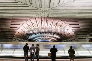 Washington DC Subway Station Motion Blur Platform Waiting Ceiling Transportation