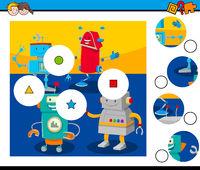 match pieces puzzle with comic robots