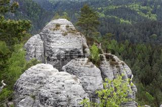 Blick von der Gamrig Gesteinsformation in die Sächsische Schweiz, Deutschland