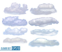 Collection of realistic clouds isolated on white