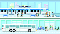 Public bus, Railroad transport illustration