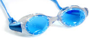 Blue goggles for swimming with water drops