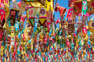 Close up view on many of beautiful paper lanterns for festival to celebrate the birthday of Buddha in South Korea. Guinsa Temple, Danyang, South Korea.