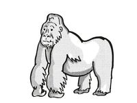 mountain silver back gorilla Endangered Wildlife Cartoon Mono Line Drawing