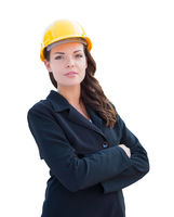 Female Contractor In Hard Hat Isolated On White