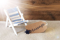 Summer Sunny Label And Text Massage, Wooden Background