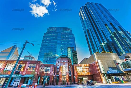 Edmonton, Alberta, Canada June 25, 2018. Skyscrapers and shops in downtown Edmonton