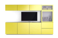 Led tv and yellow tv stand