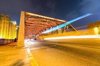light trails on shanghai garden bridge