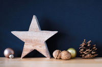 Christmas decoration glass balls with wooden star and nuts