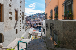 view from above on San Blas district Quito