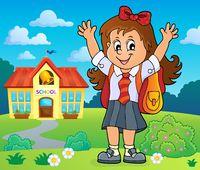 Happy pupil girl theme image 4