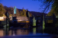 Historic weir at the river Altmuehl in Bavaria at night