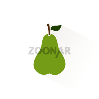 Green pear icon with shadow. Flat vector illustration
