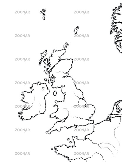 Map of The ENGLISH Lands: UK, Great Britain, England, Scotland, Wales & Ireland. Geographic chart.