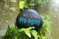 """The Word """"Pro-Aging"""" on a black stone with ivy"""