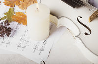 Close view of a white violin dry oak leaves musical notes and candle on wooden table