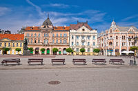 Freedom square in Novi Sad arches and architecture view