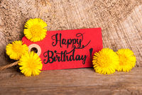 Red Label, Dandelion, English Calligraphy Happy Birthday
