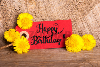 Red Label, Dandelion, English Calligraphy Happy Birthday