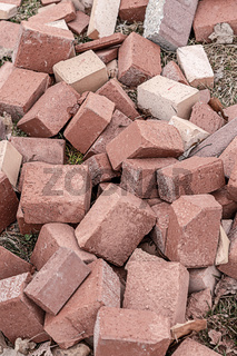 stone pile of broken cobblestone tiles for laying garden paths