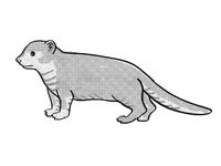 Mongoose or Helogale Parvula Endangered Wildlife Cartoon Mono Line Drawing