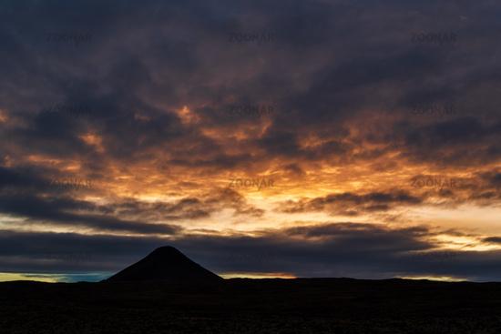 Mount Keilir on sunset near Reykjavik, Iceland