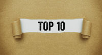 Torn brown paper revealing the words Top 10