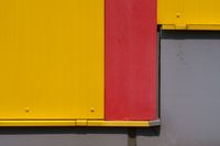 Detail yellow sheet metal facade