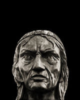 American Indigenous Head Sculpture Background