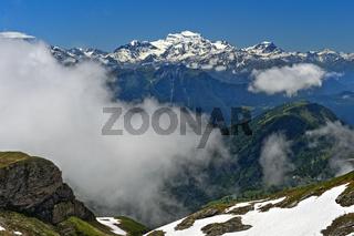Wolkenspiel am Grand Combin Massiv, Walliser Alpen, Bourg-Saint-Pierre, Wallis, Schweiz