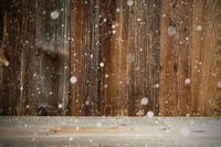 Brown Wooden Vintage Or Rustic Backround Or Texture, Snow