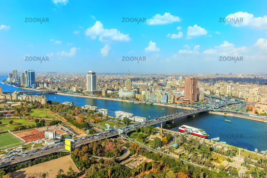 Cairo downtown from above, panoramic view, Egypt