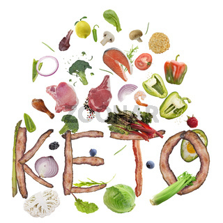 Ketogenic or keto diet  letters from bacon and food ingredients on white background