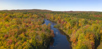 Oswegatche River Adirondak Park Panoramic Aerial View Autumn Season
