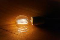Light bulb on a table