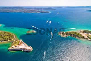 Saint Nikola fortress and Sibenik bay entrance aerial view