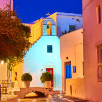 Mykonos town at night