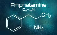 Chemical formula of Amphetamine on a futuristic background