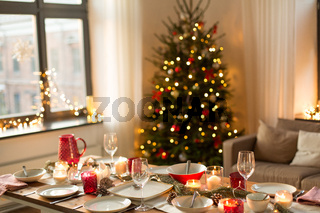 table served for christmas dinner at home