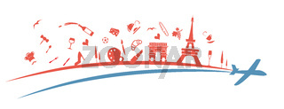 france flag symbol element with aeroplane. illustration
