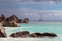Sail boat on the Seychelles