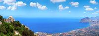 Tyrrhenian coastline from Erice, Sicily, Italy